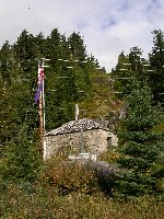 The historic stone storehouse at Hyder, Alaska