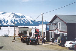 Some of the historic buildings along Pearl Avenue in Atlin, BC