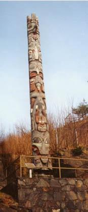 One of the many totem poles in Prince Rupert, BC