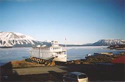 The old lake tour boat Tarahne as she looked in April 2002, as seen from Room 11 of the Atlin Inn - Atlin, BC