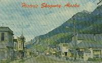 Postcard of Broadway - Skagway, Alaska - in the early 1950s