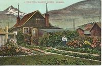 One of Skagway's claims to fame in the early years of Alaska tourism was as the 'garden center of Alaska.' This card was published by Lowman & Hanford of Seattle