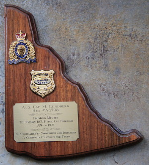 RCMP Auxiliary service plaque