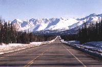 The Alaska Range, about 20 miles west of Tok, Alaska. Photo taken April 2000.