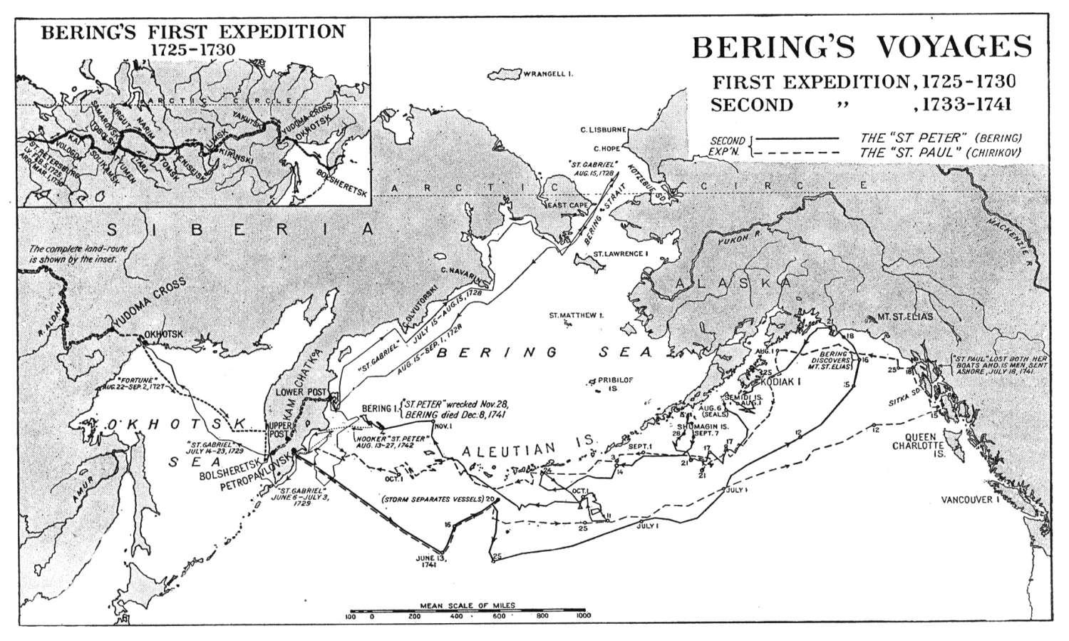 Map of the First and Second Voyages of Vitus Bering.