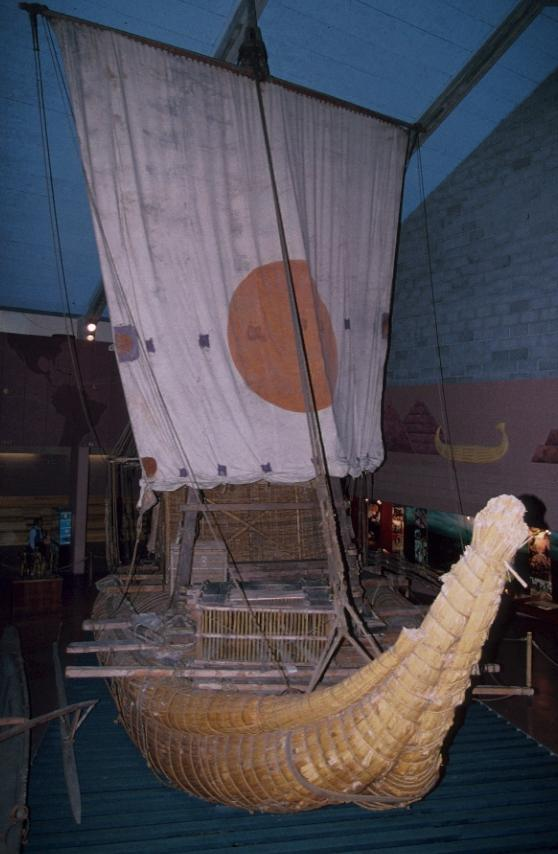 A photo of a reed boat in the museum.