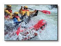 Raft in severe white water