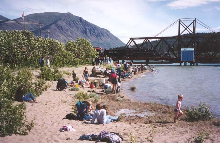 A busy day on the fine sand beach at Carcross, Yukon