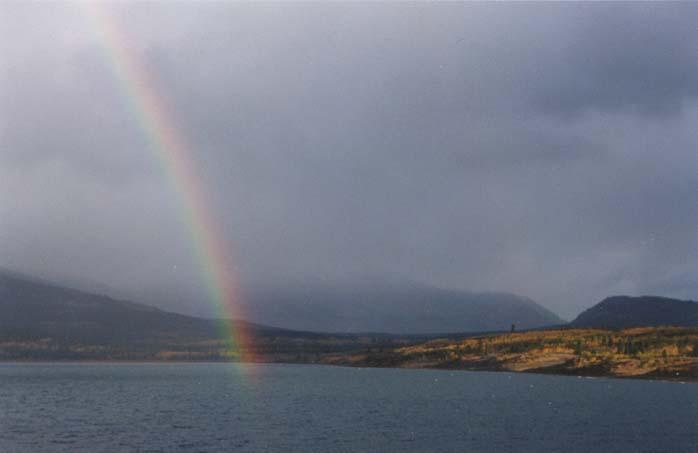 A rainbow over Lake Bennett and the dunes - Carcross, Yukon