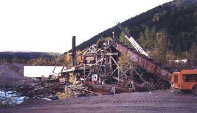 The Sixtymile Dredge as it was being disassembled, September 11, 1999