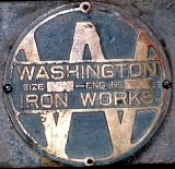 Washington Iron Works plaque on the winch of the Sixtymile Dredge