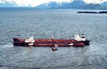 Photo of the Exxon Valdez aground in Prince William Sound on March 23, 1989.