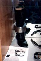 Photo of an 'Oregon Boot' in the Alaska State Troopers Museum, Anchorage, Alaska