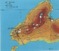 A topographic map of the Josva mine village as it remained in 1986.
