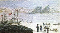 Painting by Hans Zakaeus, showing a meeting between Eskimos and Europeans in Greenland, 1818