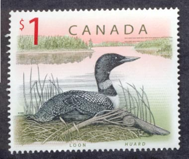 The Common Loon on a Canadian postage stamp.