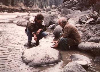 Gold panning on the Fraser River near Spuzzum, B.C. - Robert Lundberg and Warren Schimpf.