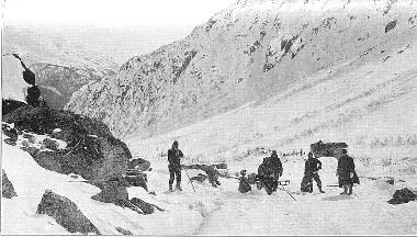 The view from The Stone House on the Chilkoot Pass in 1898