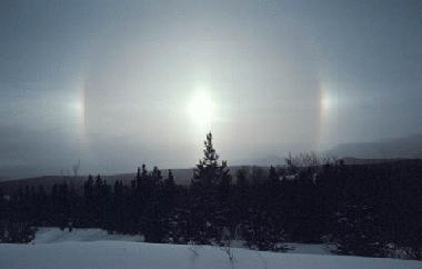 Sun dogs in Whitehorse, Yukon, brightening up a winter day