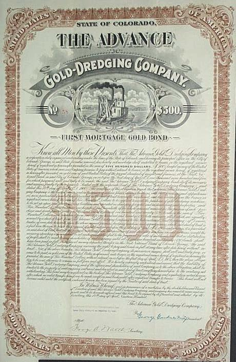 1900 stock certificate for The Advance Gold Dredging Company, operating in California
