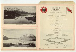 1920s menu from the Atlin Inn - Atlin, BC