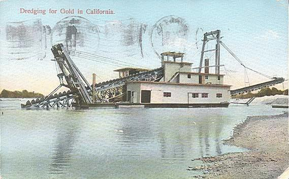 Postcard of a gold dredge working in California, 1909.