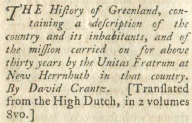 Sample of text from a review of The History of Greenland, printed in 1793