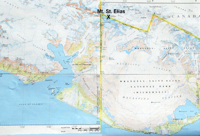 Map showing Mount St. Elias