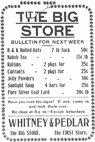 Whitney & Pedlar store ad - Whitehorse, Yukon, May 3, 1911