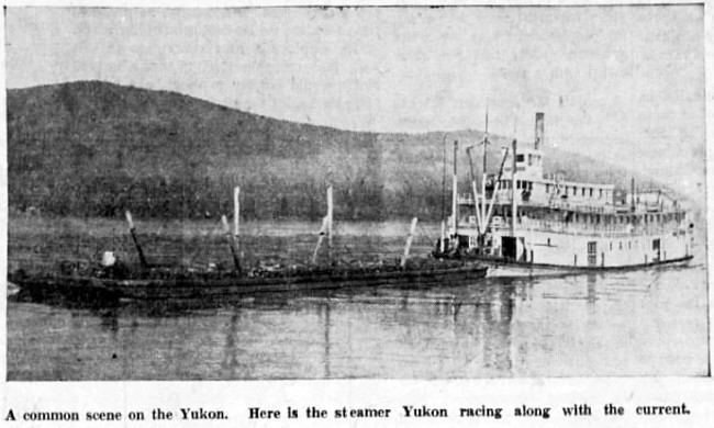 The steamer Yukon pushing a barge down the Yukon River in 1937