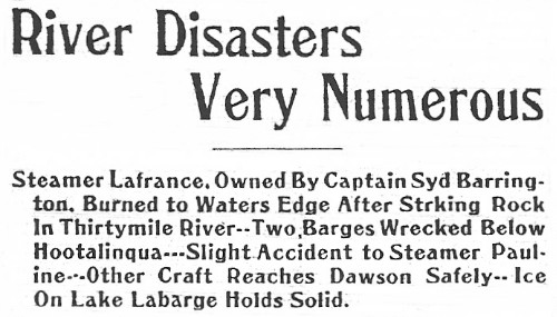 Yukon River Disasters Very Numerous, 1911