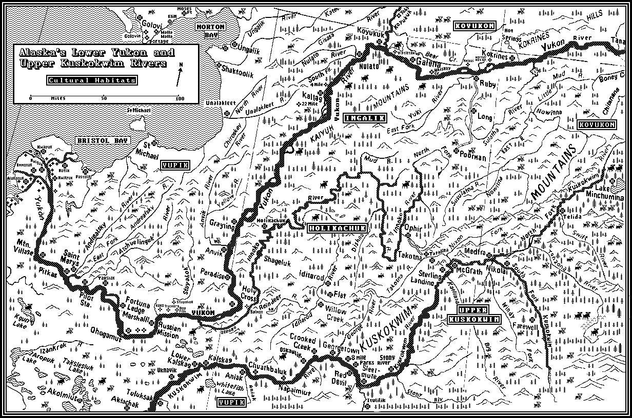 Map Of The Cultural Habitats Of Alaskas Lower Yukon River And - Yukon river map