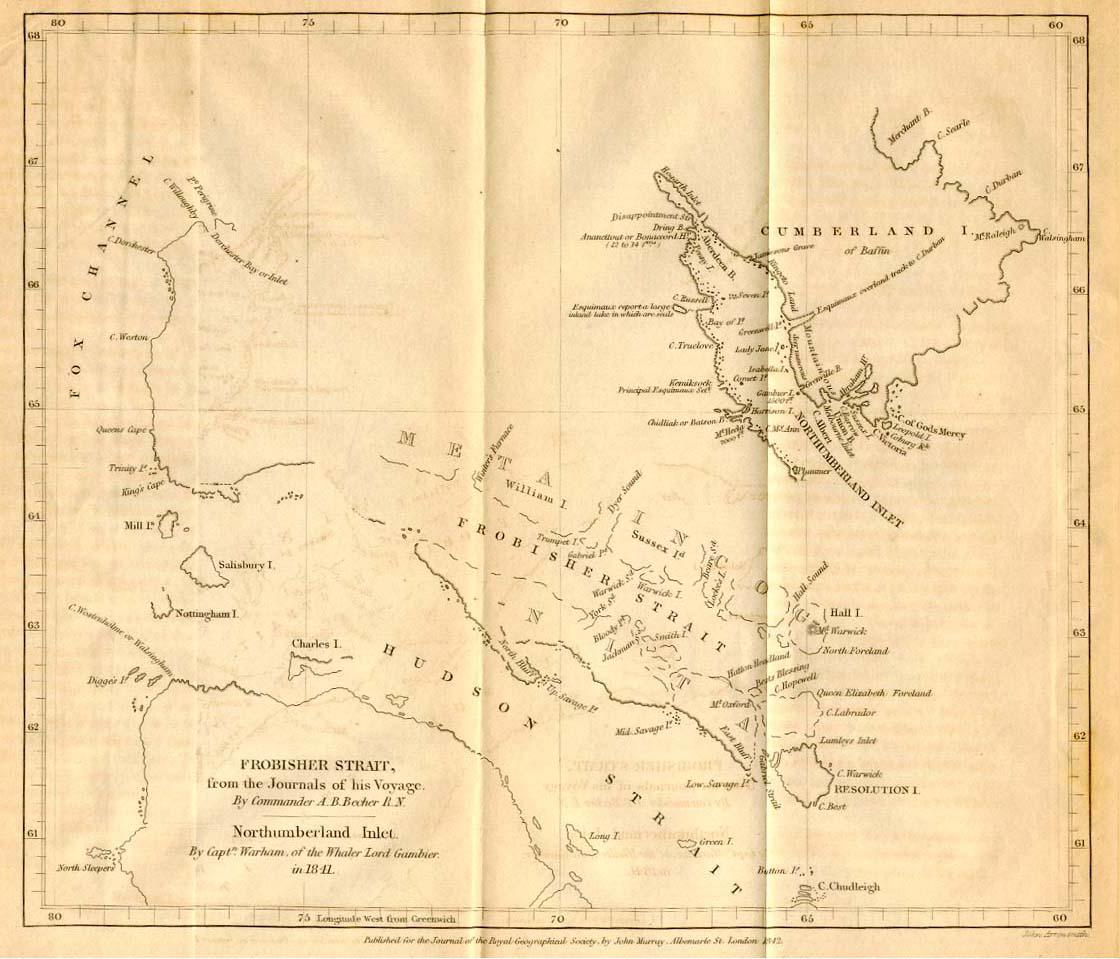 1842 Map of Hudson and Frobisher Straits