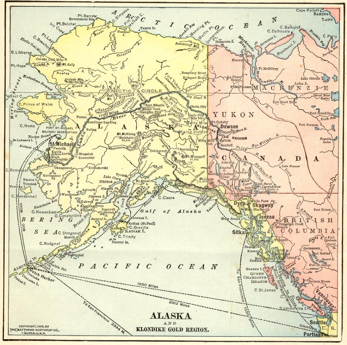 1899 Map Of Alaska And The Yukon Territory  ExploreNorth