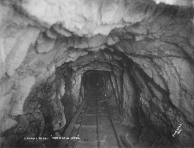 Inside the Mountain Hero silver mine, 1906