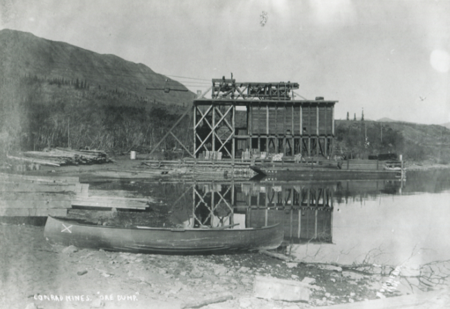 The aerial tramway at Conrad City, Yukon, in 1906.