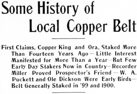 Some History of the Whitehorse Copper Belt to 1912
