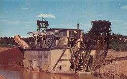 Historic photo of gold dredge operating at Fairbanks, Alaska - click to enlarge