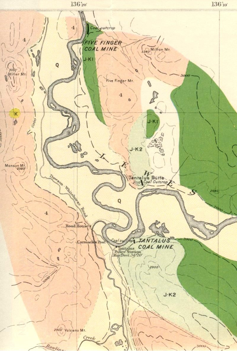 Map of Carmacks Yukon area coal mines in 1908  ExploreNorth