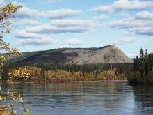 The Yukon River and Tantalus Butte from the downriver end of Carmacks.