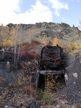 The main adit and loading platform at the Yukon's historic Tantalus Butte Coal Mine