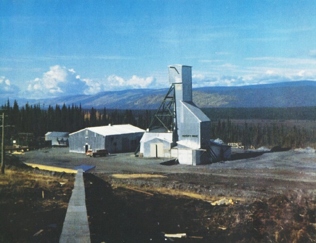 Husky Mine head frame and surface plant, 1978