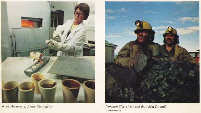United Keno Hill Mines, 1979 - Ruth Mersereau, Assay Technician; and Norman Silas and Ron MacDonald, Trammers