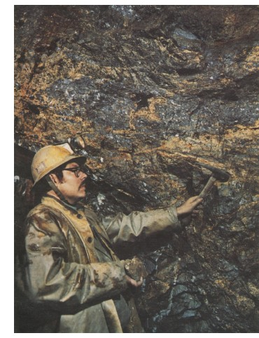 Chief Mine Geologist Larry Carlyle inspects a high grade face in the Husky Mine, 1979