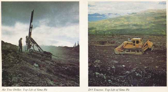 United Keno Hill Mines, 1979 - Air Trac Driller at Sime Pit, and D-9 Cat at Sime Pit