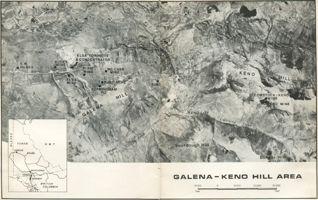 Map of United Keno Hill Mines properties, 1979