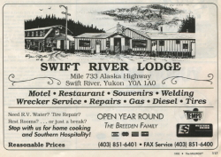 Swift River Lodge, Ad in The Milepost, 1992 edition