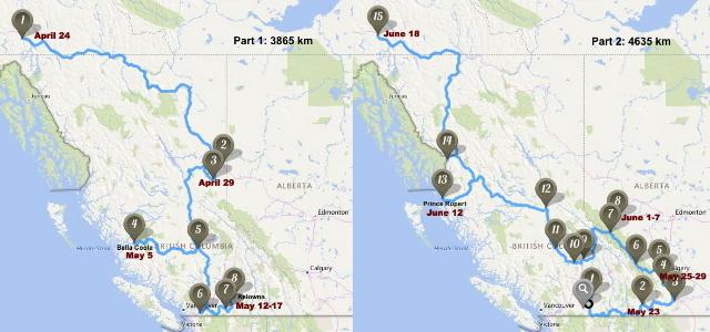 Map - RV trip around BC and Alberta