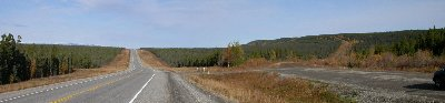 A panoramic photo of the Trutch Mountain bypass on the Alcan