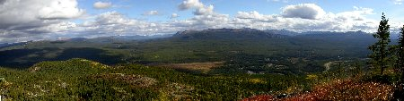 A panoramic view from a mountaintop north of Swift River, Yukon